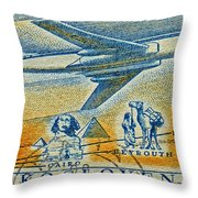 1957 Czechoslovakia Airline Stamp Throw Pillow