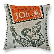 1957 Czechoslovakia Stamp Throw Pillow