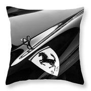 1957 Ferrari Tr 250 - 0714 Emblem -0379bw Throw Pillow