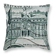 1957 Palais Del Elysee Paris Stamp Throw Pillow