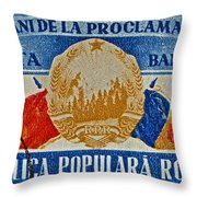 1957 Romanian Coat Of Arms And Flags Stamp Throw Pillow
