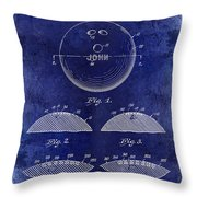 1958 Bowling Patent Drawing Blue Throw Pillow