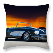 1958 Corvette At Sunset Throw Pillow