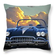1958 Corvette In Clouds Throw Pillow