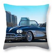 1958 Corvette With Skyline Throw Pillow