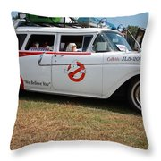 1958 Ford Suburban Ghostbusters Car Throw Pillow