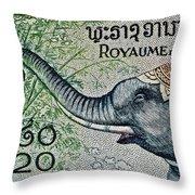 1958 Laos Elephant Stamp II Throw Pillow