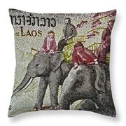 1958 Laos Elephant Stamp IIi Throw Pillow