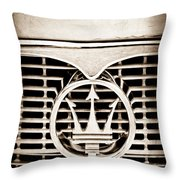 1958 Maserati Hood - Grille Emblem Throw Pillow