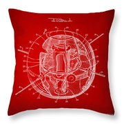1958 Space Satellite Structure Patent Red Throw Pillow