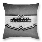 1959 Aston Martin Db4 Gt Hood Emblem -0127bw Throw Pillow