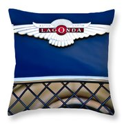 1959 Aston Martin Jaguar C-type Roadster Hood Emblem Throw Pillow by Jill Reger