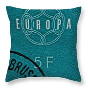 1959 Belgium Stamp - Brussels Cancelled Throw Pillow