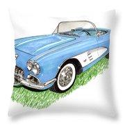1959 Corvette Frost Blue Throw Pillow