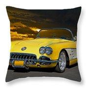 1959 Corvette Yellow Roadster Throw Pillow