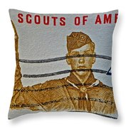 1960 Boy Scouts Stamp Throw Pillow