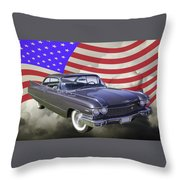 1960 Cadillac Luxury Car And American Flag Throw Pillow