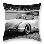 1960 Chevrolet Corvette -0880bw Throw Pillow