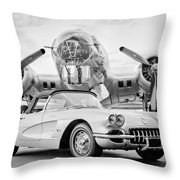1960 Chevrolet Corvette - B-17 Bomber Throw Pillow