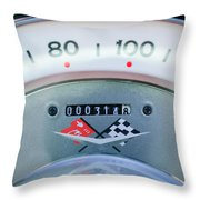 1960 Chevrolet Corvette Speedometer Throw Pillow by Jill Reger