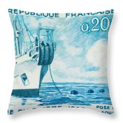 1960 Day Stamp Installation Of A Submarine Cable Throw Pillow