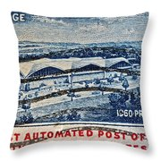 1960 First Automated Post Office Stamp Providence Rhode Island Throw Pillow