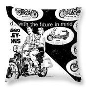 1960 Harley Davidson  Throw Pillow