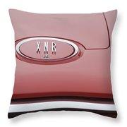 1960 Plymouth Xnr Ghia Roadster  Emblem Throw Pillow by Jill Reger