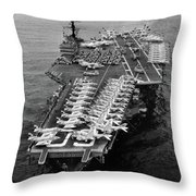 1960s Aerial Of Uss Saratoga Aircraft Throw Pillow