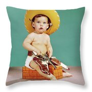 1960s Baby Wearing Cowboy Hat Throw Pillow