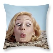1960s Blond Woman Funny Facial Throw Pillow