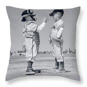1960s Boy Little Leaguer Pitcher Throw Pillow