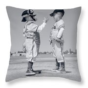1960s Boy Little Leaguer Pitcher Throw Pillow