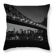 1960s Queensboro Bridge And Manhattan Throw Pillow