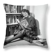 1960s Smiling Young Woman Teen Sitting Throw Pillow