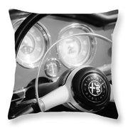 1961 Alfa Romeo Giulietta Spider Steering Wheel Emblem -1239bw Throw Pillow