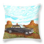 1961 Chevrolet Biscayne 409 In Monument Valley Throw Pillow