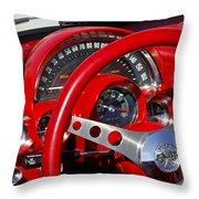 1961 Chevrolet Corvette Steering Wheel 2 Throw Pillow