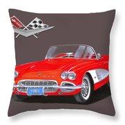 1961 Corvette Convertible Throw Pillow