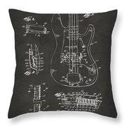 1961 Fender Guitar Patent Artwork - Gray Throw Pillow