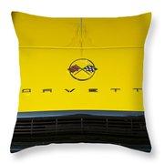 1962 Chevrolet Corvette Convertible Hood Emblem Throw Pillow