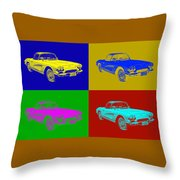 1962 Chevrolet Corvette Convertible Pop Art Throw Pillow