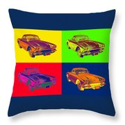 1962 Chevrolet Corvette Pop Art Throw Pillow