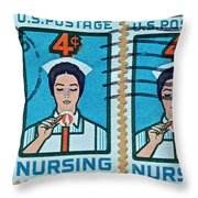 1962 Nursing Stamp Collage - Oakland Ca Postmark Throw Pillow