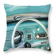 1962 Volkswagen Vw Beetle Cabriolet Steering Wheel Throw Pillow