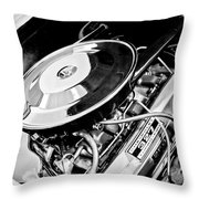 1963 Chevrolet Corvette Split Window Engine -147bw Throw Pillow