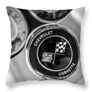 1963 Chevrolet Corvette Split Window Steering Wheel Emblem -170bw Throw Pillow
