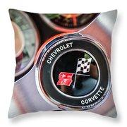 1963 Chevrolet Corvette Split Window Steering Wheel Emblem -170c Throw Pillow