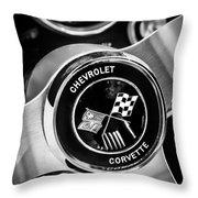 1963 Chevrolet Corvette Split Window Steering Wheel Emblem -309bw Throw Pillow