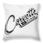 1963 Chevrolet Corvette Split Window - Sting Ray Emblem -248bw Throw Pillow